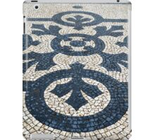 Circles and leaves in black and white cobblestones, Lisbon iPad Case/Skin