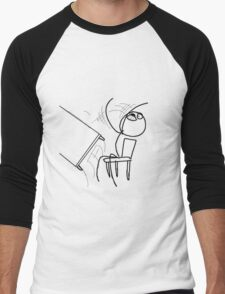 Table Flip Meme Rage Comic Flipping Angry Mad Men's Baseball ¾ T-Shirt
