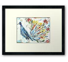 Peacock in Blossom Framed Print
