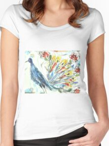 Peacock in Blossom Women's Fitted Scoop T-Shirt
