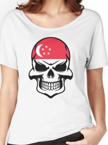 Singaporean Flag Skull Women's Relaxed Fit T-Shirt