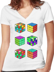 Rubik's Cubes Women's Fitted V-Neck T-Shirt
