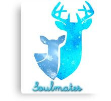 Doe and Stag soulmates Canvas Print