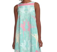 Pastel Ballerinas Pattern A-Line Dress