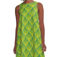 Green Dragon Scales Pattern A-Line Dress