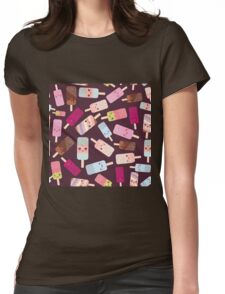 Icecream on brown background Womens Fitted T-Shirt