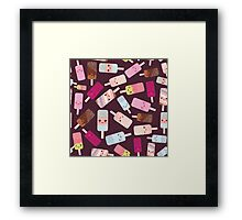 Icecream on brown background Framed Print
