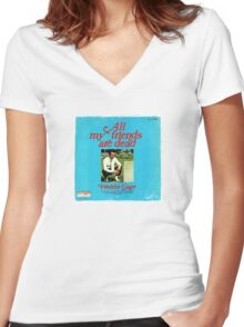 Vinyl Record Cover - All my friends are dead Women's Fitted V-Neck T-Shirt