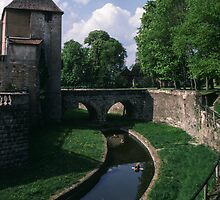 Inner moat with bridge Chateau Epoisses France 198405040080  by Fred Mitchell