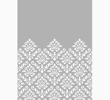 Damask Baroque Part Pattern White on Grey Unisex T-Shirt