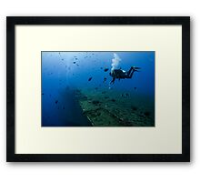 Diver at the MS Zenobia shipwreck.  Framed Print