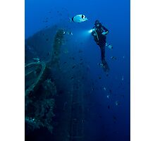 Diver at the MS Zenobia shipwreck.  Photographic Print