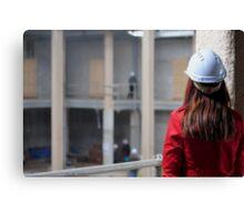 Construction Site-Lady In Red  Canvas Print