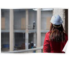 Construction Site-Lady In Red  Poster