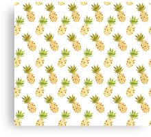 Tropical Watercolor Pineapple Pattern Canvas Print