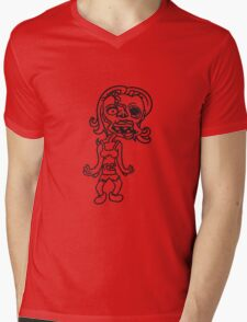 untote frau girl sexy lady mädchen zombie cool ekelig laufen horror monster halloween comic cartoon  Mens V-Neck T-Shirt