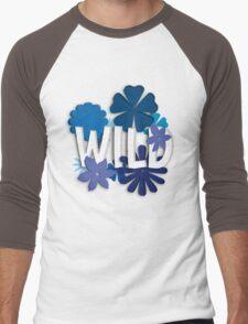 Wild (Floral Typography) Men's Baseball ¾ T-Shirt