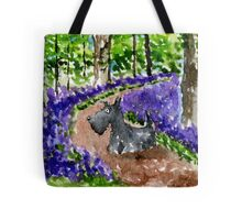 Scottie Dog in Bluebell Woods watercolour Tote Bag