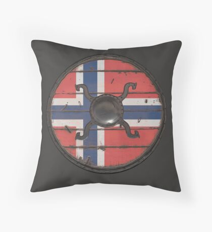 Norwegian Viking Shield Throw Pillow