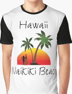 Hawaii Waikiki Beach Graphic T-Shirt
