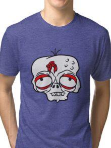 traurig müde gelangweilt dumm zombie gesicht kopf untot horror monster halloween  Tri-blend T-Shirt