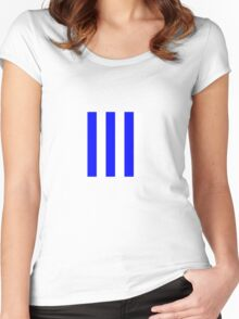 Blue and white stripe - Pixel Field Series design Women's Fitted Scoop T-Shirt