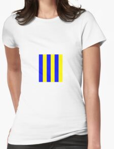 Blue and Yellow stripes - Pixel Field Series design Womens Fitted T-Shirt