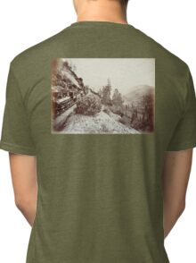 Central Pacific, Steam, Train, Railroad, Cape Horn, c 1880 Tri-blend T-Shirt