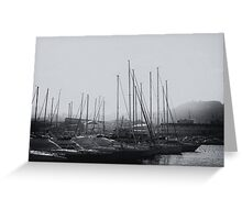small boats in the fog Greeting Card