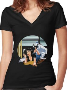 Pulp Fiction - Mia Standalone Variant Women's Fitted V-Neck T-Shirt