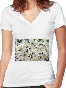 White Sweet peas Women's Fitted V-Neck T-Shirt