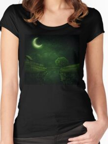 countryside at night Women's Fitted Scoop T-Shirt