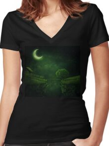 countryside at night Women's Fitted V-Neck T-Shirt