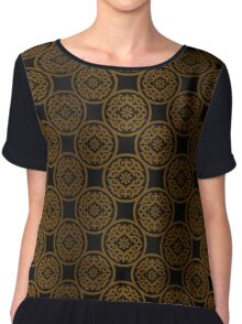 Golden ornament on black Chiffon Top