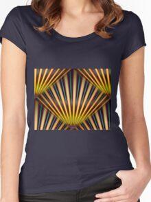Dark Retro Rays Women's Fitted Scoop T-Shirt