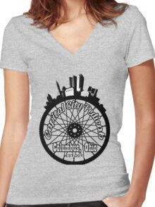 Capital City Pedicab Women's Fitted V-Neck T-Shirt