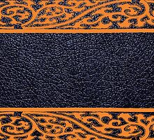 Black Leather Orange Damask Border by Nhan Ngo