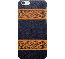 Black Leather Orange Damask Border iPhone Case/Skin