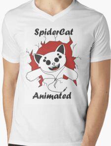 SpiderCat Animated Mens V-Neck T-Shirt