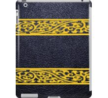 Black Leather Yellow Damask Border iPad Case/Skin
