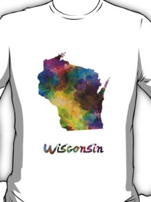 Wisconsin US state in watercolor T-Shirt