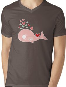 Whimsical Pink Pregnant Mommy Whale Mens V-Neck T-Shirt