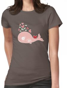 Whimsical Pink Pregnant Mommy Whale Womens Fitted T-Shirt