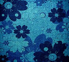 Blue floral leather texture background by Nhan Ngo