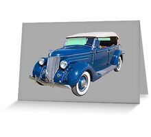 Blue 1936 Ford Phaeton Convertible Antique Car Greeting Card