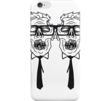 team 2 freunde paar krawatte nerd geek streber freak hornbrille pickel spange zombie lustig gesicht kopf untot horror monster halloween  iPhone Case/Skin