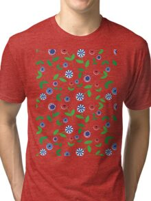 Red & Blue Button Flowers Tri-blend T-Shirt