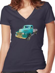 Old Flat Bed Ford Work Truck Women's Fitted V-Neck T-Shirt