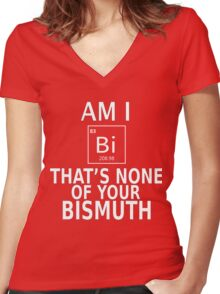 Gay pride LGBT shirts Am I BI?  The's none of your Bismuth Pride week swag and unique gifts Women's Fitted V-Neck T-Shirt