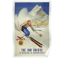The Inn Unique New Hampshire Vintage Travel Poster Poster
